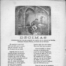 Libros antiguos: PLIEGO DE CORDEL DECIMAS . Lote 56115511