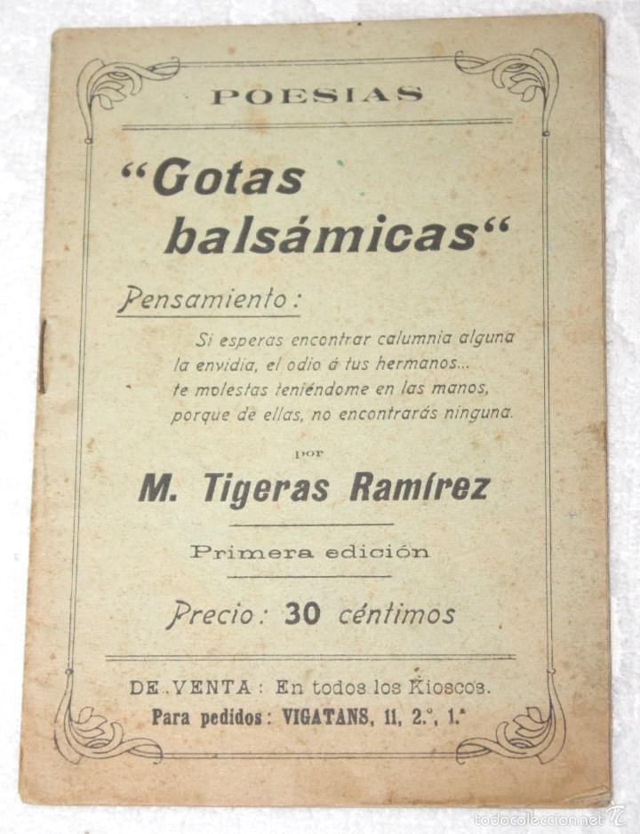 POESÍAS GOTAS BALSÁMICAS. PRIMERA EDICIÓN M. TIGERAS RAMÍREZ (Libros antiguos (hasta 1936), raros y curiosos - Literatura - Poesía)