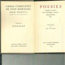 Libros antiguos: POESIES. JOAN MARAGALL. Lote 56392601