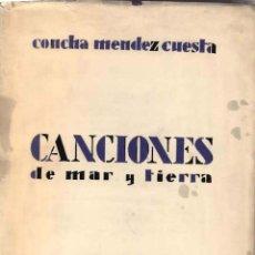 Libros antiguos: CONCHA MENDEZ. GENERACION DEL 27. CANCIONES DE MAR Y TIERRA. 1ª EDICION, 1930 BUENOS AIRES. Lote 56489880
