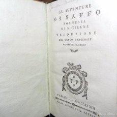 Libros antiguos: LE AVVENTURE DI SAFFO 1783. Lote 56532541