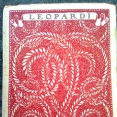 Libros antiguos: LEOPARDI, GIACOMO - LAS MEJORES POESÍAS DE LOS MEJORES POETAS 2 (ED. CERVANTES, 1934..)- ESCASO. Lote 56688983