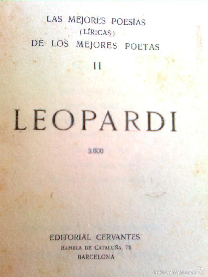 Libros antiguos: Leopardi, Giacomo - Las mejores poesías de los mejores poetas 2 (Ed. Cervantes, 1934..)- escaso - Foto 2 - 56688983
