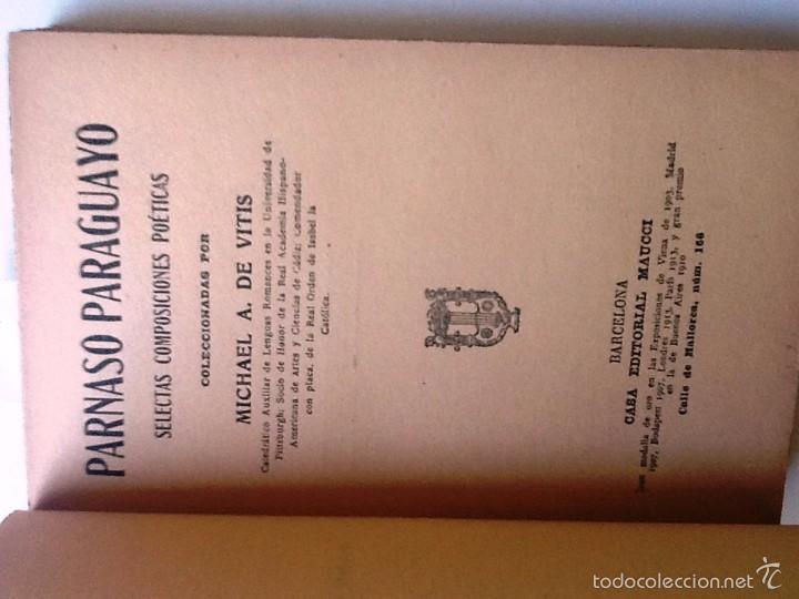 Libros antiguos: PARNASO PARAGUAYO. MICHAEL A. DE VINTIS. SELECTAS COMPOSICIONES POETICAS - Foto 2 - 56963122