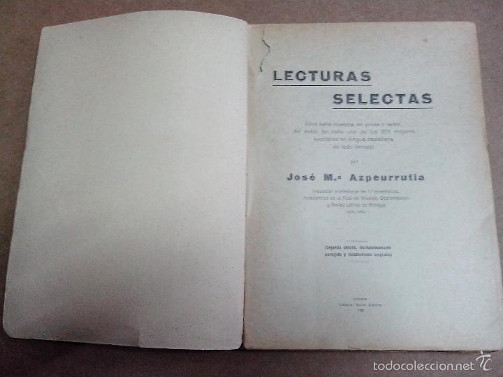 Libros antiguos: LECTURAS SELECTAS POR JOSE Mº AZPEURRUTIA AÑO 1930 - Foto 3 - 57526041