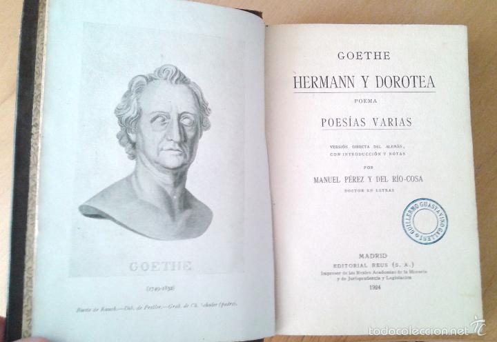 Libros antiguos: HERMANN Y DOROTEA, POEMA. POESIAS VARIAS- GOETHE. Editorial Reus. Madrid, 1924 - Foto 3 - 57746501