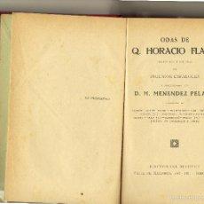 Libros antiguos: ODAS DE Q. HORACIO FLACO. FLACO, Q. HORACIO. 1908 MAUCCI, BARCELONA.. Lote 58086768