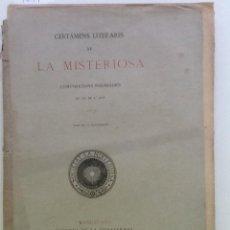 Libros antiguos: CERTAMENS LITERARIS DE LA MISTERIOSA. COMPOSICIONS PREMIADES EN LO DE L ANY 1876. Lote 58438335