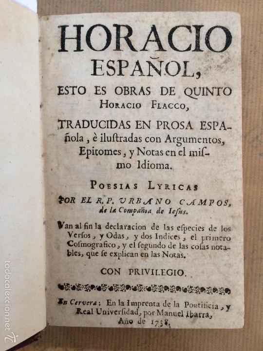 HORACIO ESPAÑOL, OBRAS DE QUINTO HORACIO FLACCO O POESIAS LYRICAS, URBANO CAMPOS (Libros antiguos (hasta 1936), raros y curiosos - Literatura - Poesía)