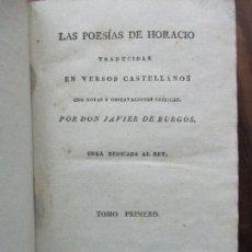 Libros antiguos: LAS POESÍAS DE HORACIO. 2 TOMOS DE 4. 1820.. Lote 62051420