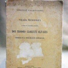 Libros antiguos: VELADA NECROLOGICA, POETA TEODORO LLORENTE OLIVARES, CIRCULO VALENCIANO, BUENOS AIRES, ALSINA 1911. Lote 66201522