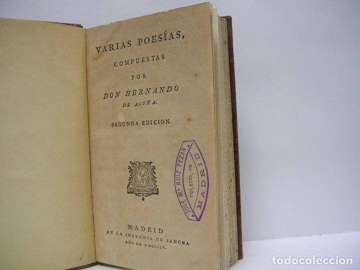 HERNANDO DE ACUÑA. VARIAS POESÍAS. SANCHA 1804 (Libros antiguos (hasta 1936), raros y curiosos - Literatura - Poesía)