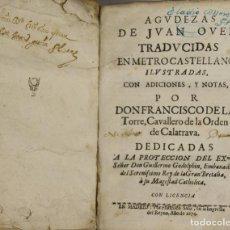 Libros antiguos: 4643- AGUDEZAS DE JUAN OVEN. EDIT. FRANCISCO SANZ Y ANTONIO GONZALEZ. 1674/1682.. Lote 43449462