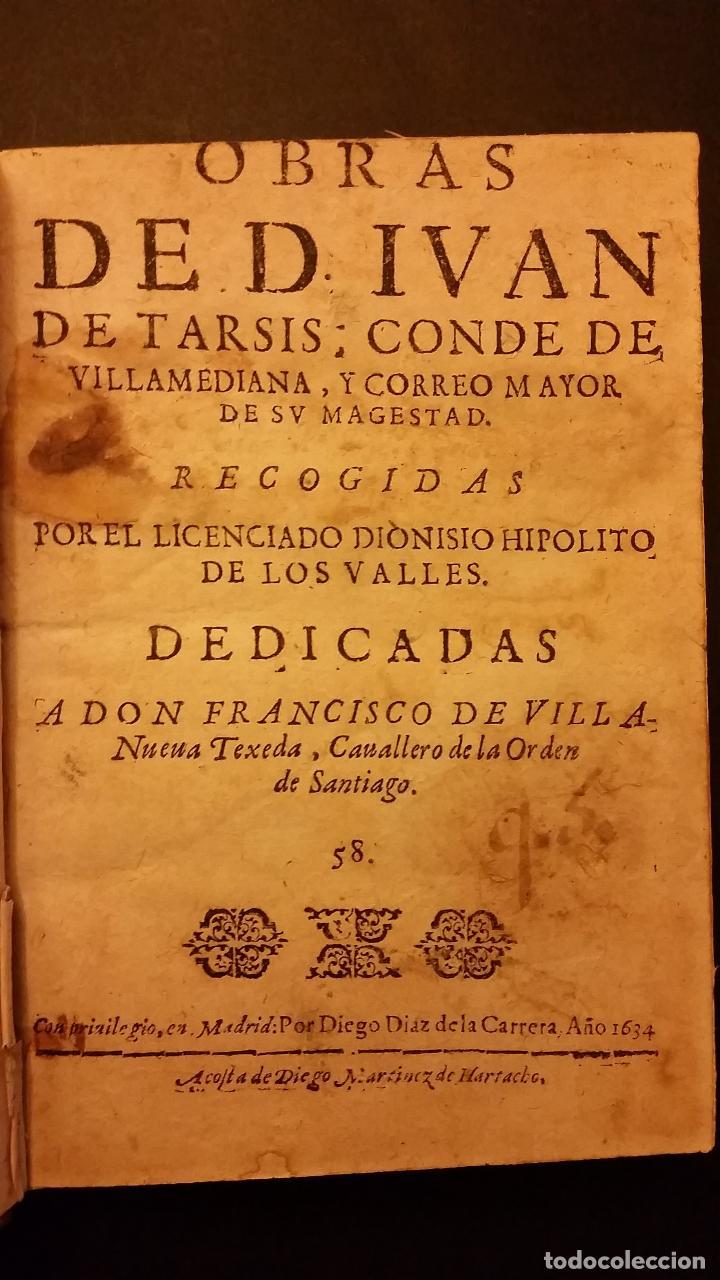 Libros antiguos: 1634 - JUAN DE TARSIS, CONDE DE VILLAMEDIANA - OBRAS - Foto 2 - 67971393