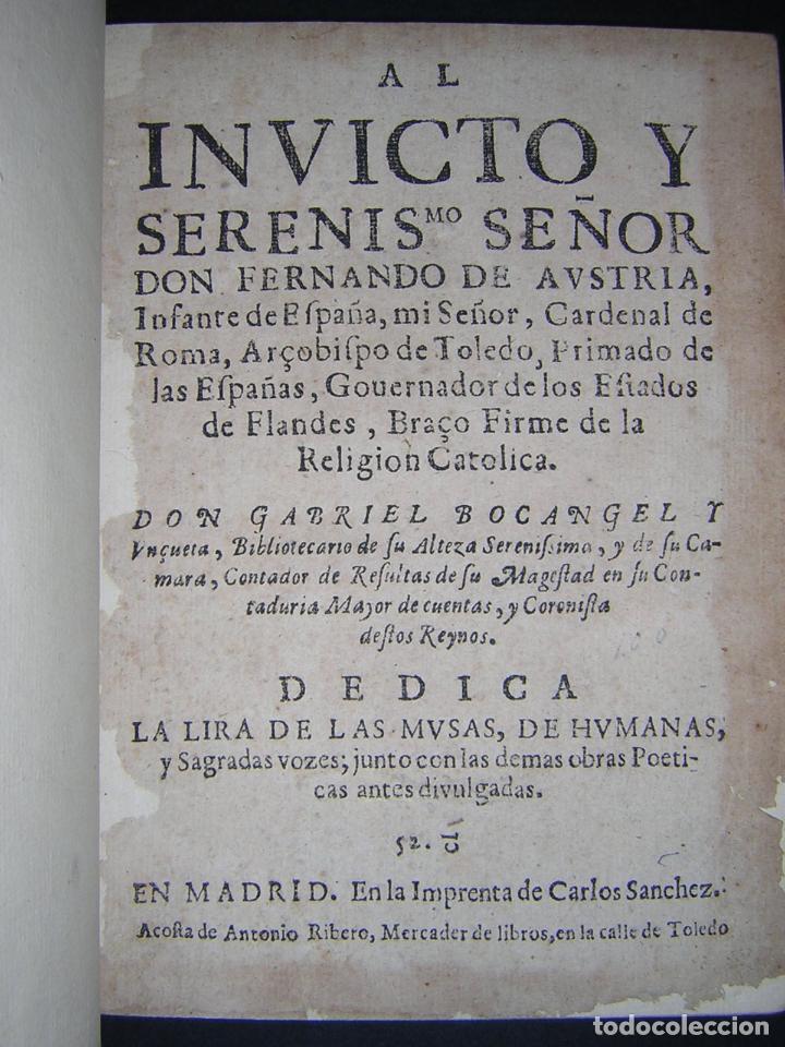 Libros antiguos: 1637 - GABRIEL BOCÁNGEL - LIRA DE LAS MUSAS, DE HUMANAS Y DIVINAS VOZES, JUNTO CON LAS DEMAS OBRAS - Foto 3 - 67971673