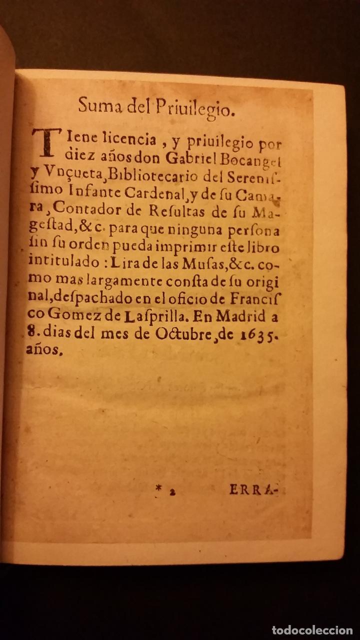 Libros antiguos: 1637 - GABRIEL BOCÁNGEL - LIRA DE LAS MUSAS, DE HUMANAS Y DIVINAS VOZES, JUNTO CON LAS DEMAS OBRAS - Foto 4 - 67971673