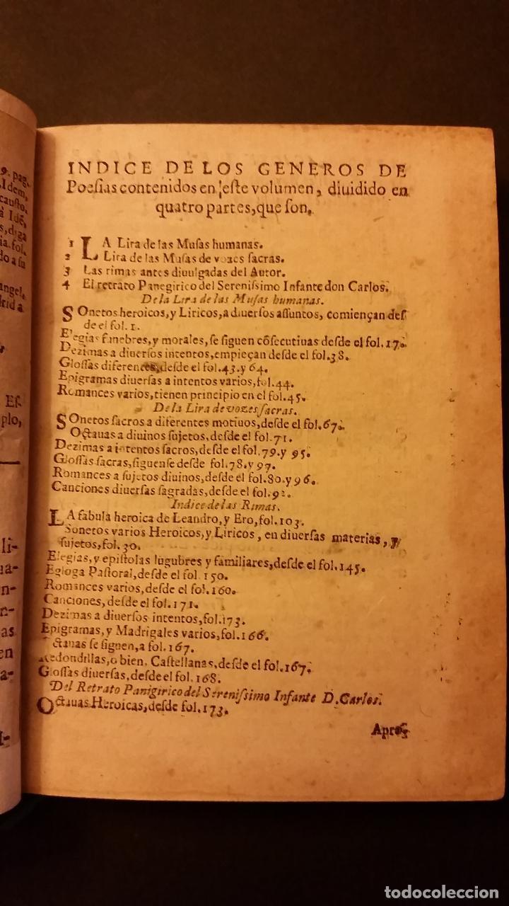 Libros antiguos: 1637 - GABRIEL BOCÁNGEL - LIRA DE LAS MUSAS, DE HUMANAS Y DIVINAS VOZES, JUNTO CON LAS DEMAS OBRAS - Foto 5 - 67971673