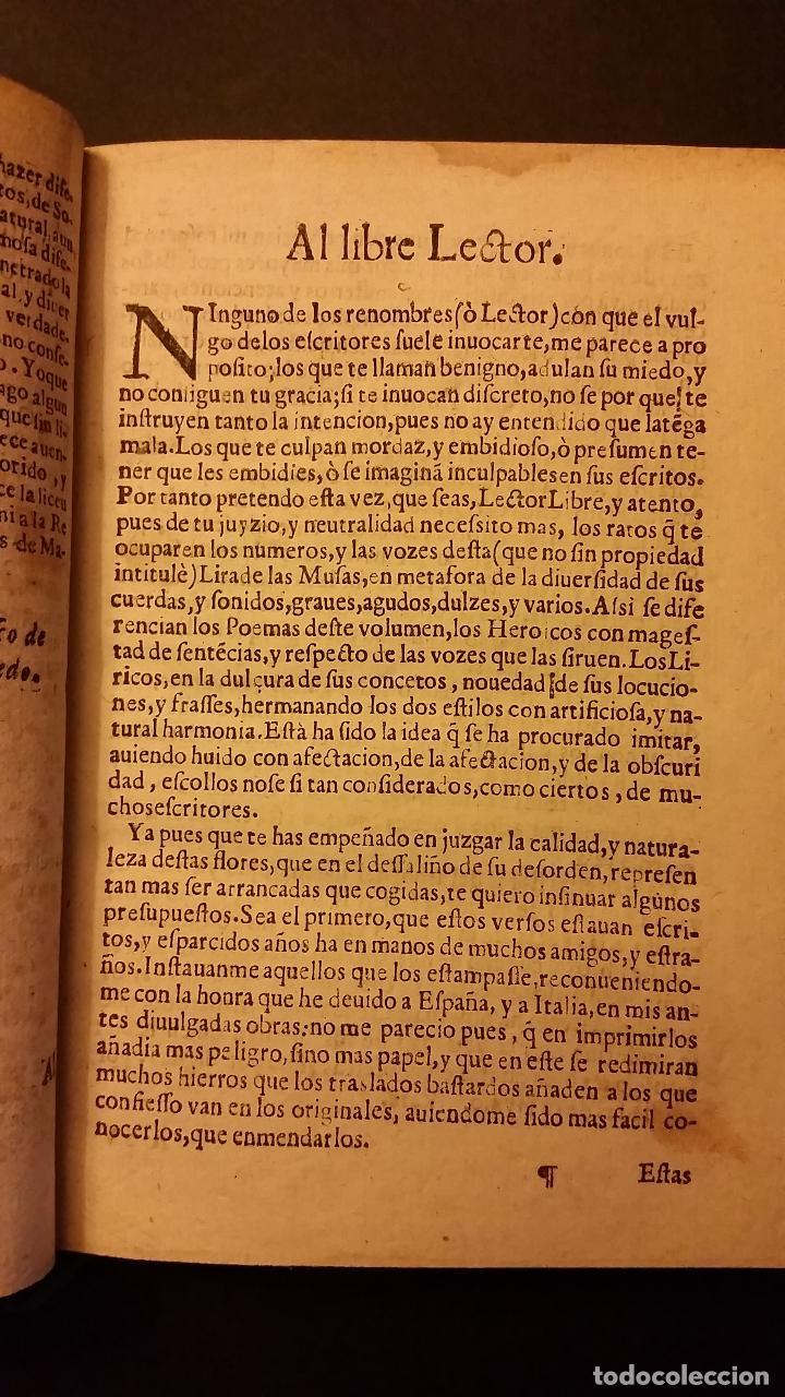 Libros antiguos: 1637 - GABRIEL BOCÁNGEL - LIRA DE LAS MUSAS, DE HUMANAS Y DIVINAS VOZES, JUNTO CON LAS DEMAS OBRAS - Foto 7 - 67971673