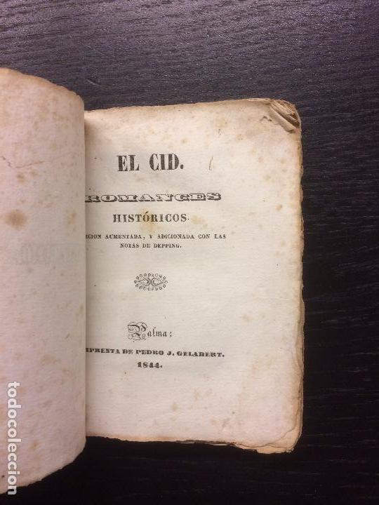 EL CID. ROMANCES HISTORICOS. 1844 (Libros antiguos (hasta 1936), raros y curiosos - Literatura - Poesía)