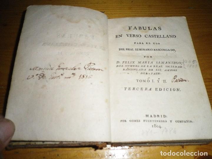 Libros antiguos: FABULAS EN VERSO CASTELLANO PARA EL USO DEL REAL SEMINARIO VASCONGADO MADRID 1804 - Foto 5 - 73458779