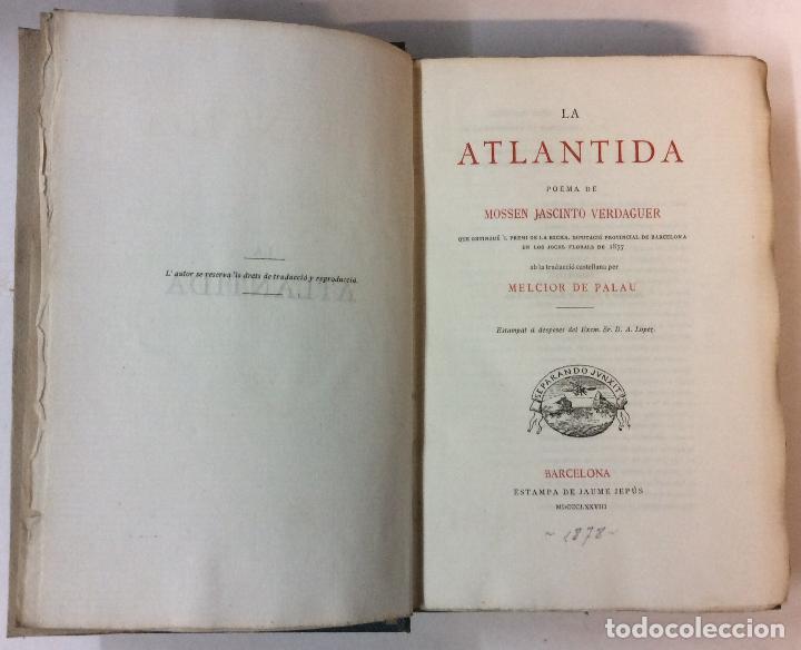 Libros antiguos: PRIMERA EDICIÓN. LA ATLANTIDA. J. VERDAGUER. 1878. EDICION BILINGÜE, EN PAPEL DE HILO. - Foto 2 - 73894603