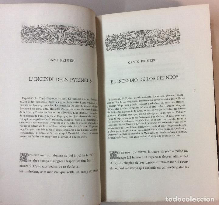 Libros antiguos: PRIMERA EDICIÓN. LA ATLANTIDA. J. VERDAGUER. 1878. EDICION BILINGÜE, EN PAPEL DE HILO. - Foto 4 - 73894603