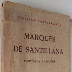 Libros antiguos: CANCIONES Y DECIRES. Lote 74323923
