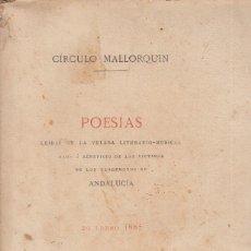 Libros antiguos: POESIAS BENEFICIO DE LAS VÍCTIMAS DE LOS TERREMOTOS DE ANDALUCÍA 1885 CIRCULO MALLORQUÍN PALMA 1. Lote 84840892