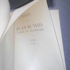Libros antiguos: JUAN DE TASIS. CONDE DE VILLAMEDIANA. ANTOLOGÍA POÉTICA. EDITORA NACIONAL, 1944. SIGLO DE ORO.. Lote 85265060