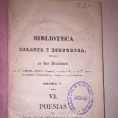 Libros antiguos: POESÍA JUAN MELENDEZ VALDES BARCELONA 1838 BIBLIOTECA SELECTA. Lote 89875260