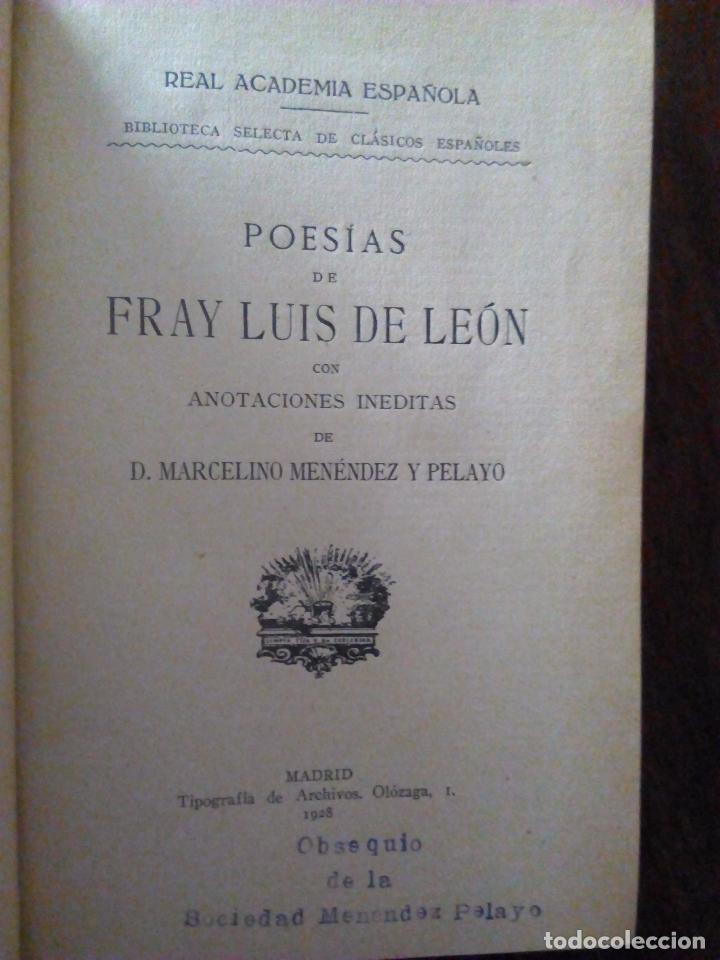 Libros antiguos: Fray Luis de León. Poesías. Con Anotaciones de Menéndez y Pelayo. 1928. - Foto 4 - 90043740