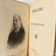 Livres anciens: MANUEL DEL PALACIO : MELODÍAS ÍNTIMAS (SONETOS, CANCIONES Y COPLAS) 1884.. Lote 91319175