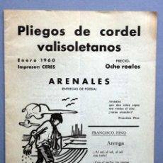 Libros antiguos: 1959 - PLIEGO CORDEL - FRANCISCO PINO - DEDICATORIA DE PINO - ARENALES - VALLADOLID. Lote 94032000