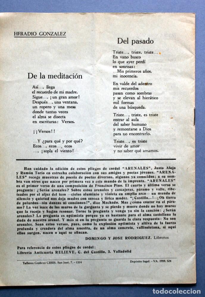 Libros antiguos: 1959 - PLIEGO CORDEL - FRANCISCO PINO - dedicatoria de Pino - ARENALES - VALLADOLID - Foto 5 - 94032000
