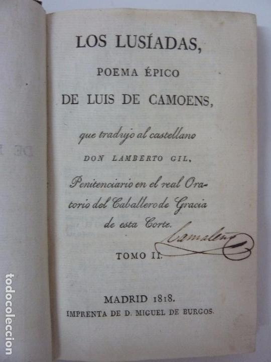 LOS LUSÍADAS. POEMA ÉPICO DE LUIS DE CAMOENS. 1818. TOMO II. (Libros antiguos (hasta 1936), raros y curiosos - Literatura - Poesía)