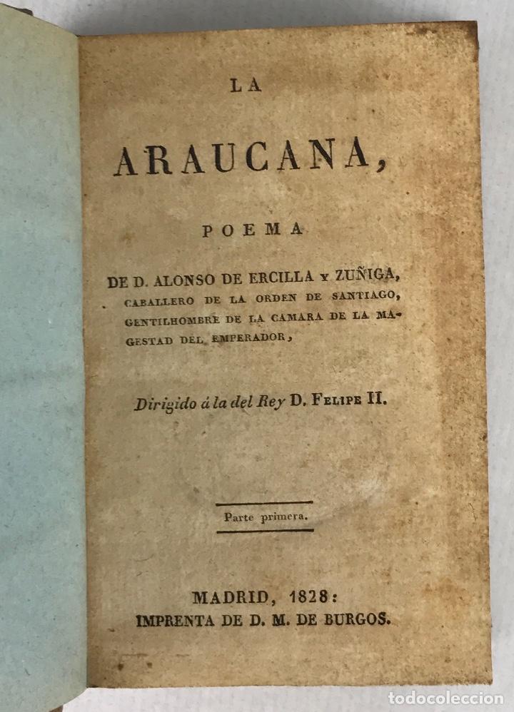 Libros antiguos: La Araucana. Poema-D.Alonso de Ercilla y Zuñiga-Imprenta de D.M.de Burgos, Madrid 1828-Tomos 1 y 2 - Foto 5 - 288463058