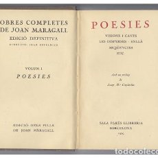 Libros antiguos: MARAGALL, JOAN. POESÍES. AMB UN PRÒLEG DE JOSEP MARIA CAPDEVILA. 1929.. Lote 100700599