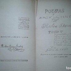 Libros antiguos: OBRAS COMPLETAS POESÍAS DE ADOLESCENCIA , FASCIMIL DE LA PORTADA AUTOGRAFA TRAZADA POR RUBEN DARIO. Lote 100765911