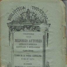 Libros antiguos: TESORO DE LA POESÍA CASTELLANA SIGLO XVII. AÑO 1875 (14.1). Lote 101541999