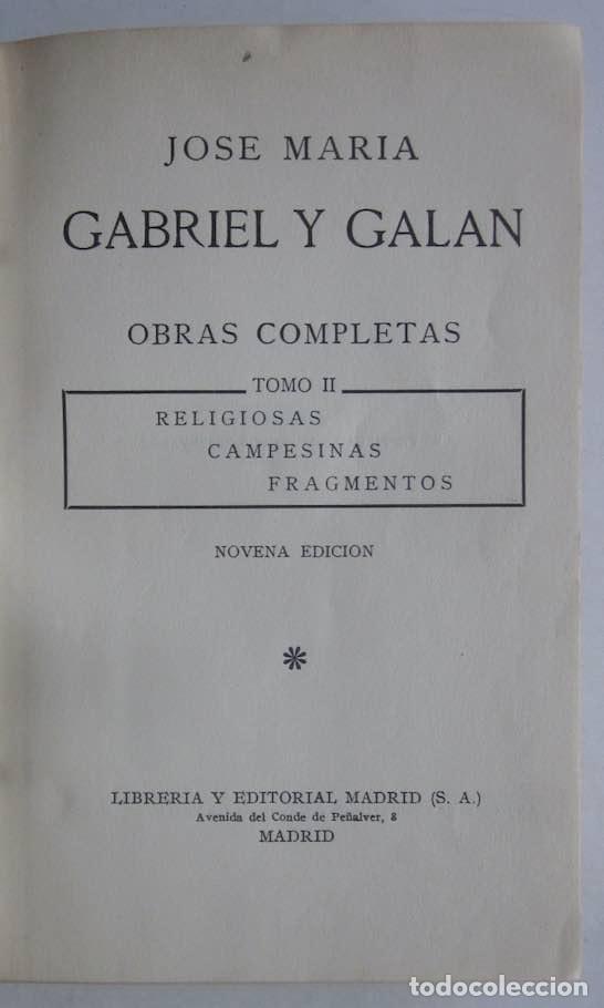 Libros antiguos: OBRAS COMPLETAS DE GABRIEL Y GALAN - 2 TOMOS - Foto 8 - 103066827