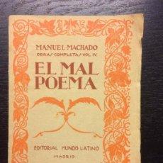 Libros antiguos: EL MAL POEMA, MANUEL MACHADO, 1923. Lote 106002775