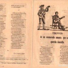 Libri antichi: PLIEGO CORDEL TROVOS DE UN ENAMORADO AMANTE QUE CANTA A SU QUERIDA DONCELLA. AÑO 1865. Lote 107418188