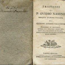 Libros antiguos: TRISTEZZE - MALADIZIONI DI P. OVIDIO NASONE. LA BUCOLICA DI P. VIRGILIO MARONE. AÑO 1790. (5.2). Lote 109078223