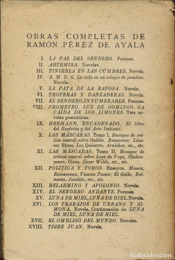 Libros antiguos: LA PAZ DEL SENDERO, POR RAMÓN PÉREZ DE AYALA. AÑO 1924. (4.2) - Foto 2 - 109266707
