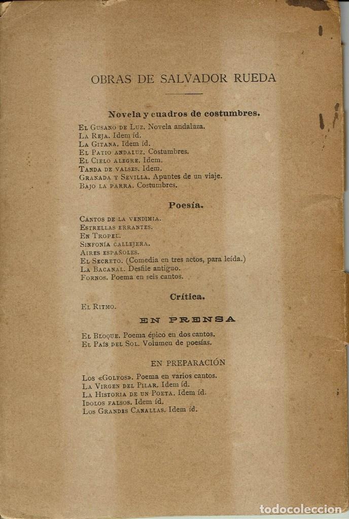 Libros antiguos: FORNOS. POEMA EN SEIS CANTOS, POR SALVADOR RUEDA. AÑO 1896. (4.2) - Foto 2 - 110035675