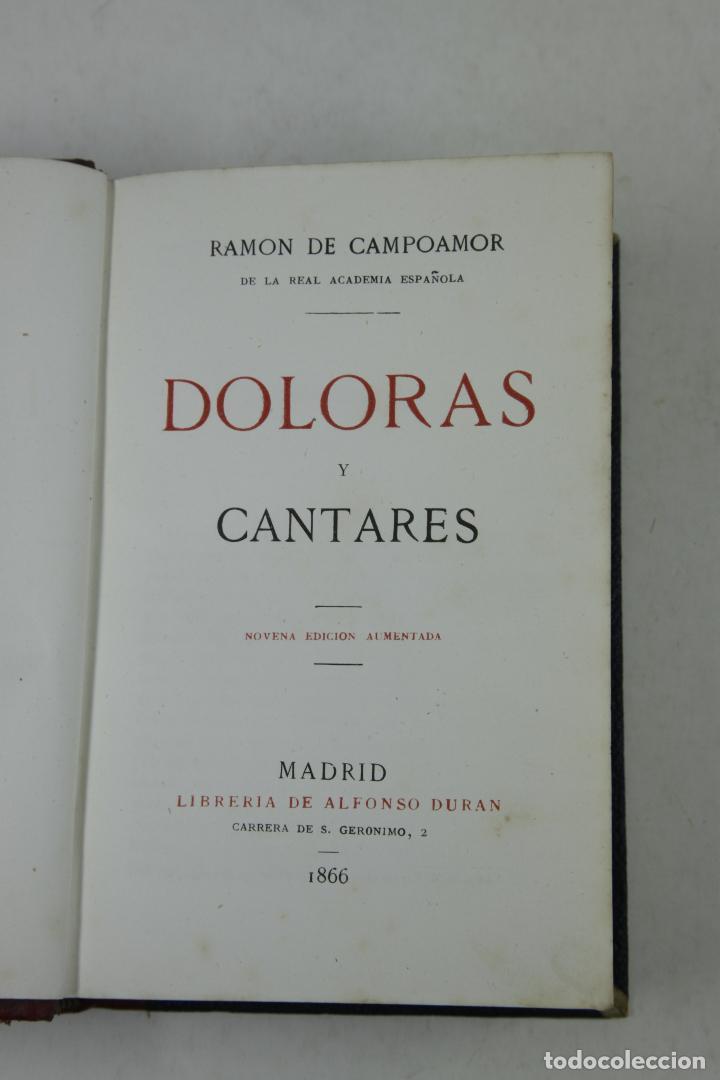 Libros antiguos: Doloras y cantares, Ramon de Campoamor, 1866, Madrid. 12,5x18cm - Foto 2 - 110454987