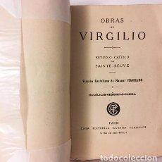 Libros antiguos: OBRAS DE VIRGILIO (GARNIER. PARIS, 1921) VERSIÓN CASTELLANA DE MANUEL MACHADO. . Lote 111304083