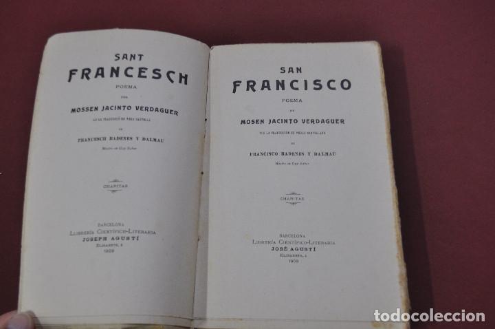 Libros antiguos: san francisco , sant francesch - jacinto verdaguer - català castellano año 1909 - APSBG - Foto 2 - 113317035