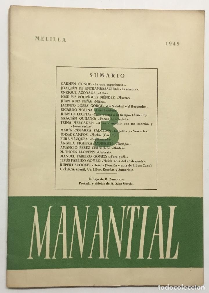Libros antiguos: MANANTIAL. Cuadernos de poesía y crítica. - [Revista.] - Foto 6 - 114799672