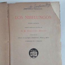 Libros antiguos: LOS NIBELUNGOS. D. A. FERNÁNDEZ MERINO. BIBLIOTECA VERDAGUER. BARCELONA. 1883.. Lote 114975375
